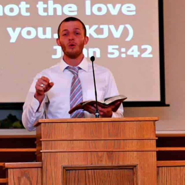 Matt preaching from the book of John during one of our services, he is now a missionary on deputation.